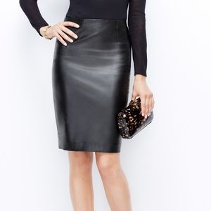 Ann Taylor • Faux Leather Pencil Skirt • 4